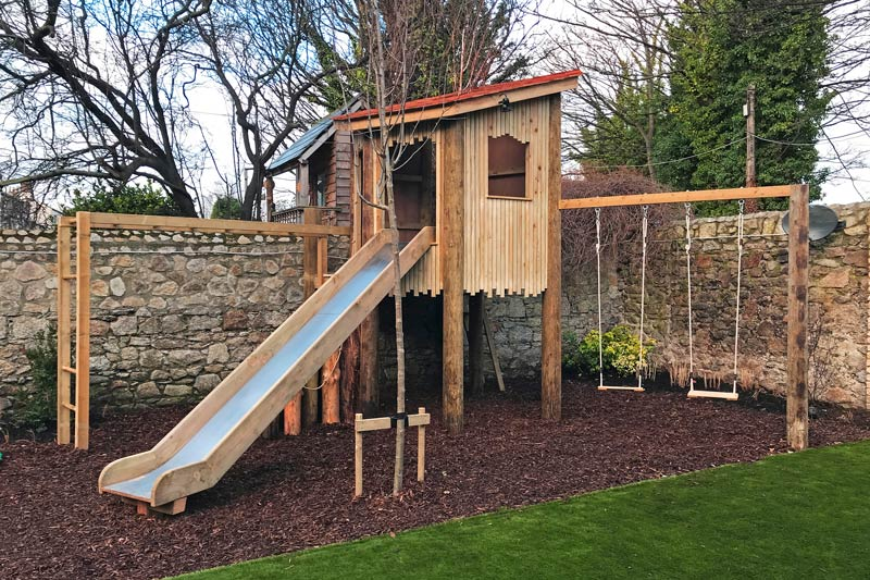 Custom built tree fort and play in Dublin garden