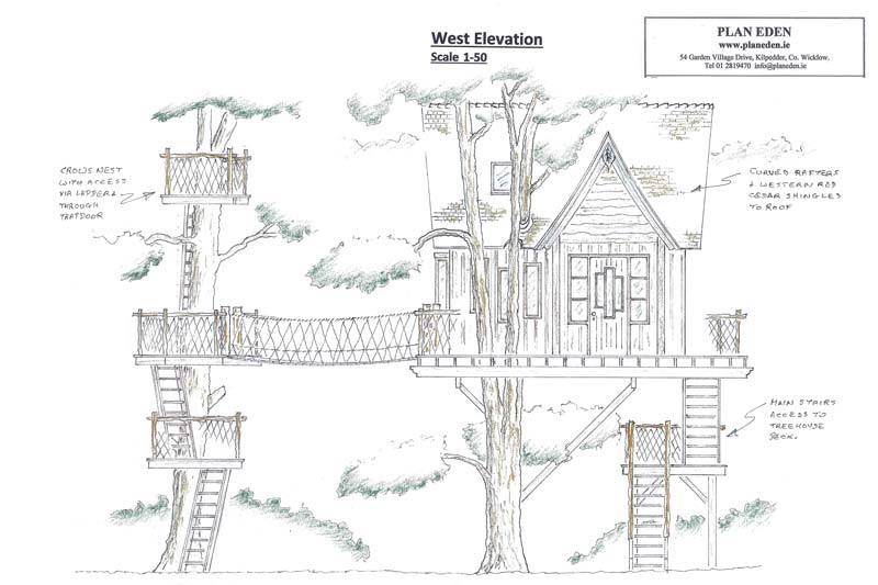 Design plan for bespoke luxury treehouse in woodland play garden