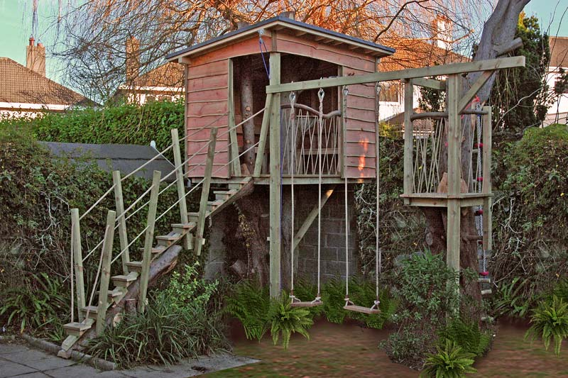 Bespoke designed and built treehouse in small urban garden