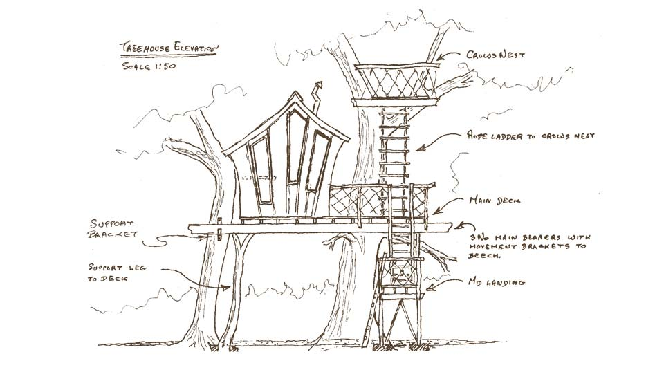 Design sketch for custom build treehouse by Forest Wild Treehouses