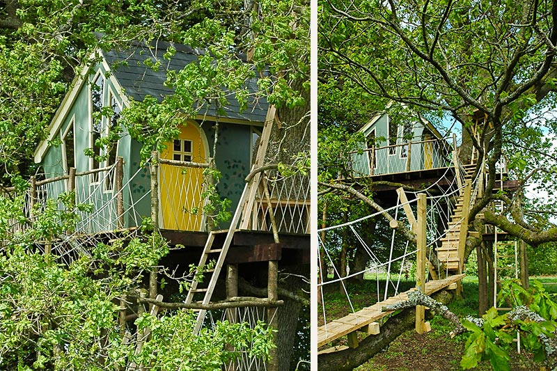 When building, careful use of colour is important in blending the treehouse into the woodland