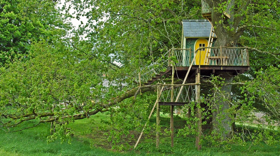 Custom built multi-level children's adventure treehouse in Ireland