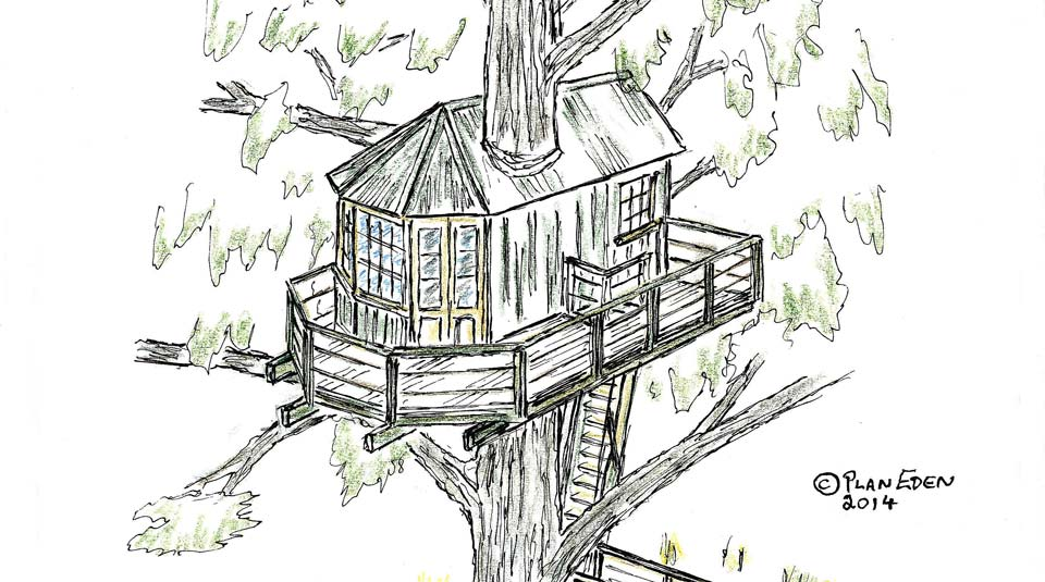 Custom adult treehouse design sketch by Forest Wild Treehouses