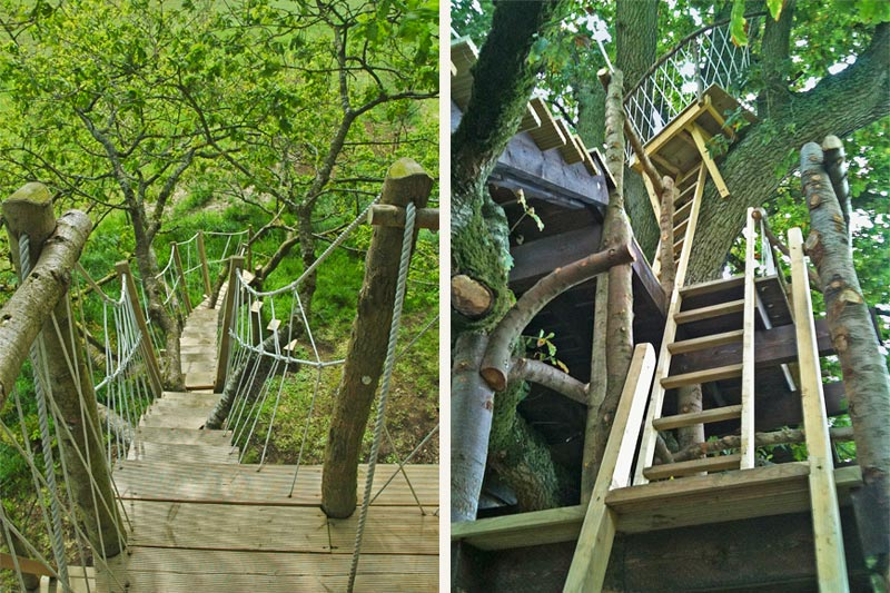 A combination of ladders, trap doors and a rope bridge adds adventure to the children's treehouse